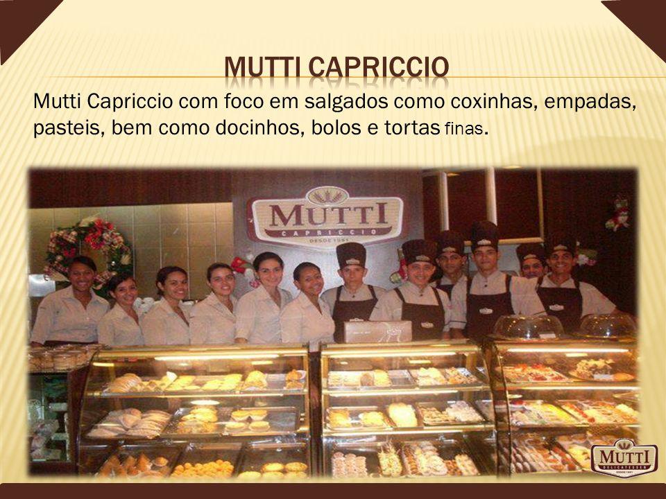 Mutti capriccio Mutti Capriccio com foco em salgados como coxinhas, empadas, pasteis, bem como docinhos, bolos e tortas finas.