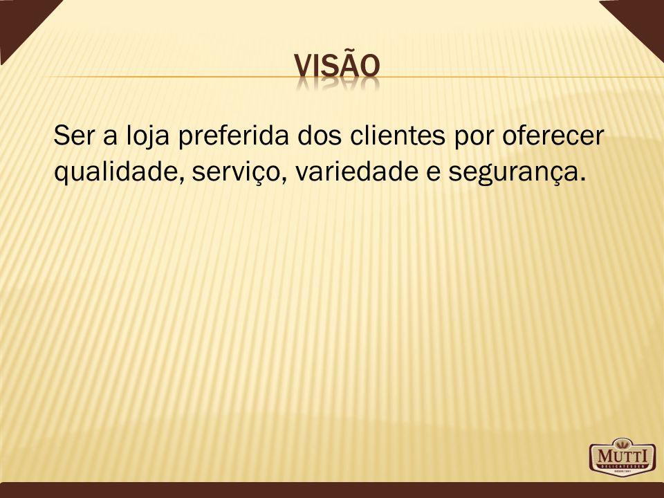 visão Ser a loja preferida dos clientes por oferecer qualidade, serviço, variedade e segurança.