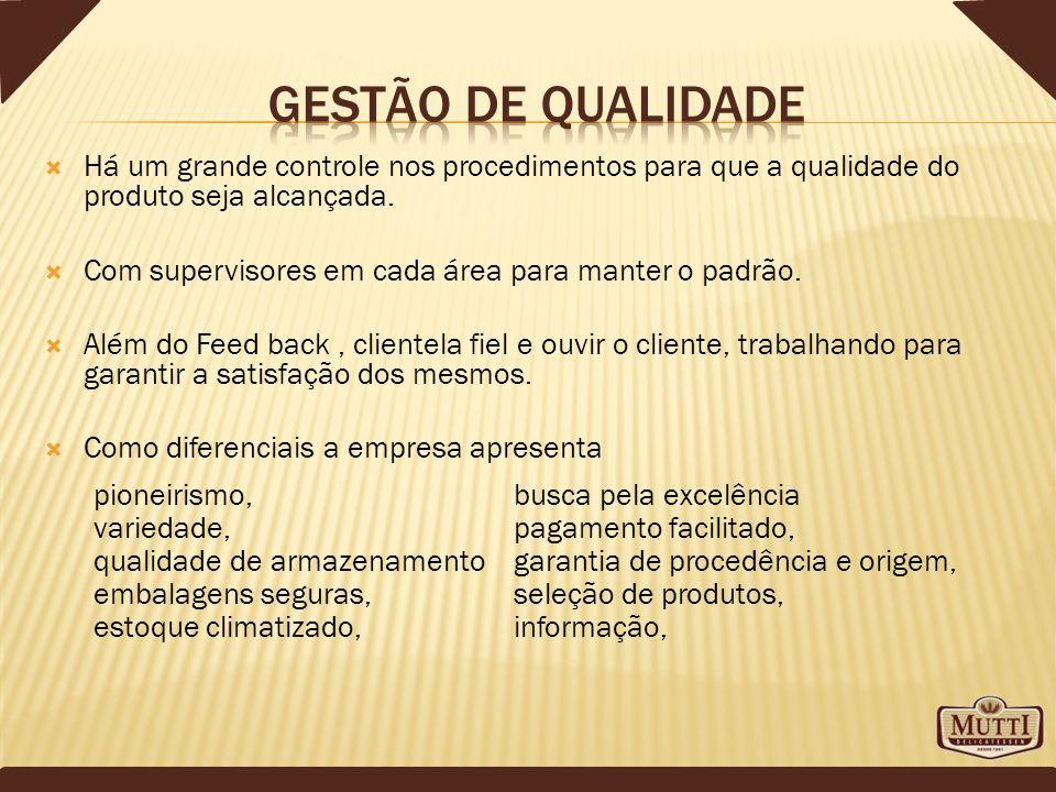 Gestão de qualidade Há um grande controle nos procedimentos para que a qualidade do produto seja alcançada.