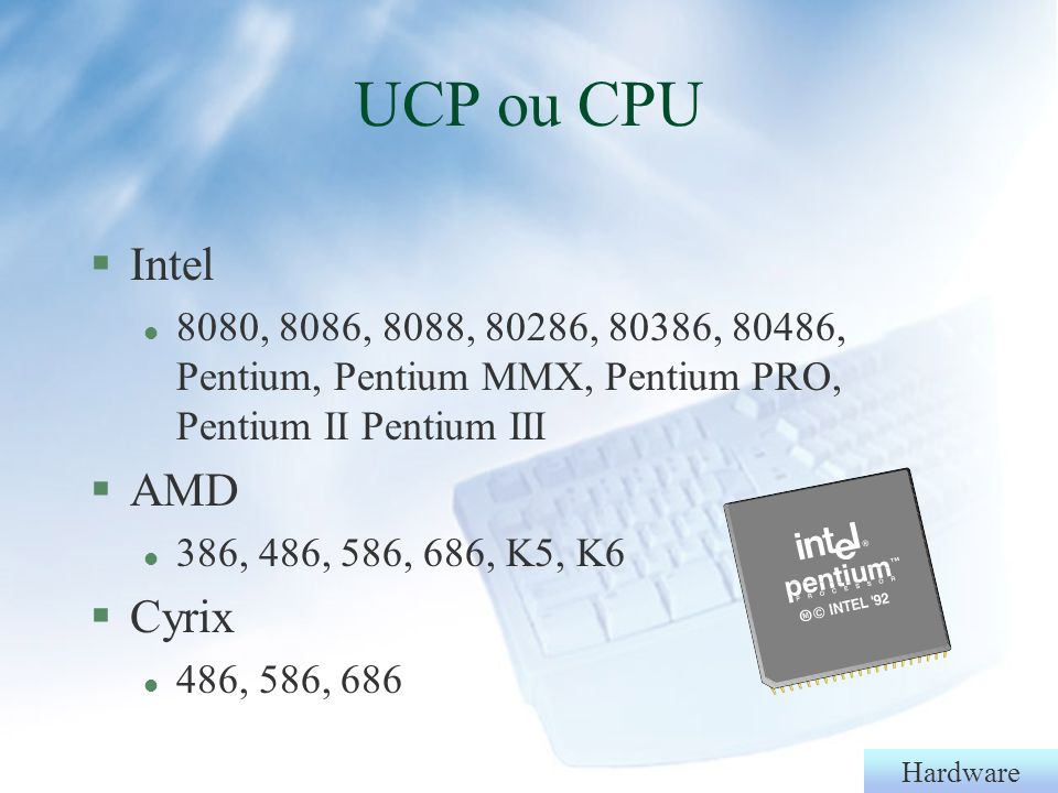 UCP ou CPU Intel AMD Cyrix