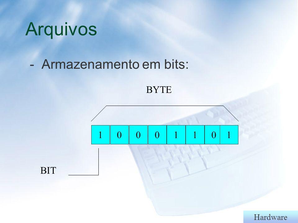 Arquivos - Armazenamento em bits: 1 BIT BYTE