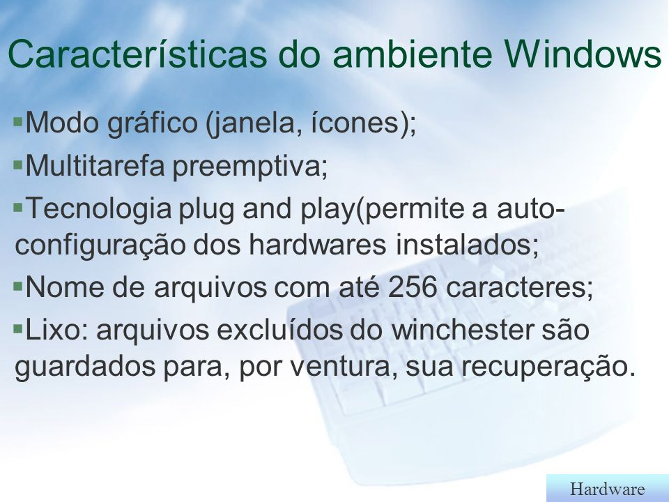 Características do ambiente Windows