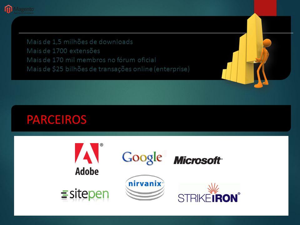 NÚMEROS PARCEIROS Mais de 1,5 milhões de downloads