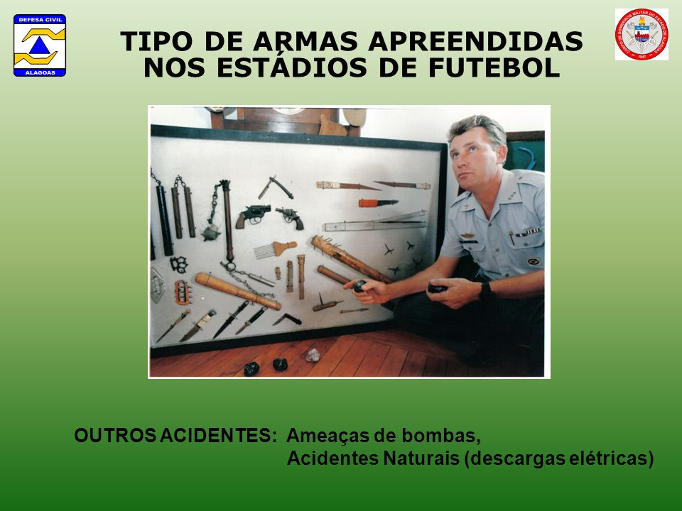 TIPO DE ARMAS APREENDIDAS NOS ESTÁDIOS DE FUTEBOL