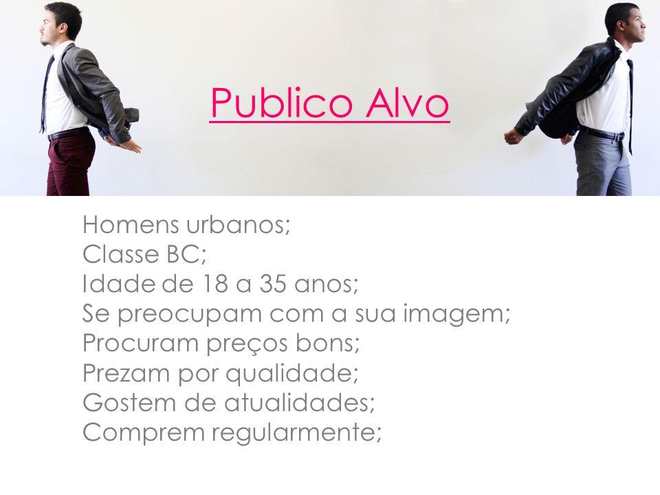 Publico Alvo Homens urbanos; Classe BC; Idade de 18 a 35 anos;