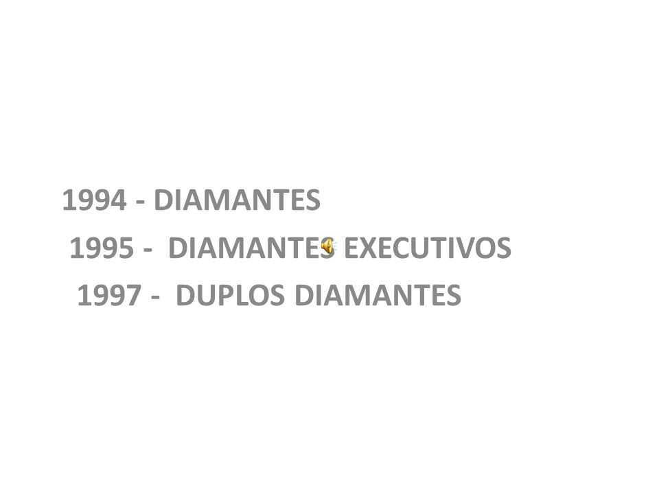 1994 - DIAMANTES 1995 - DIAMANTES EXECUTIVOS 1997 - DUPLOS DIAMANTES