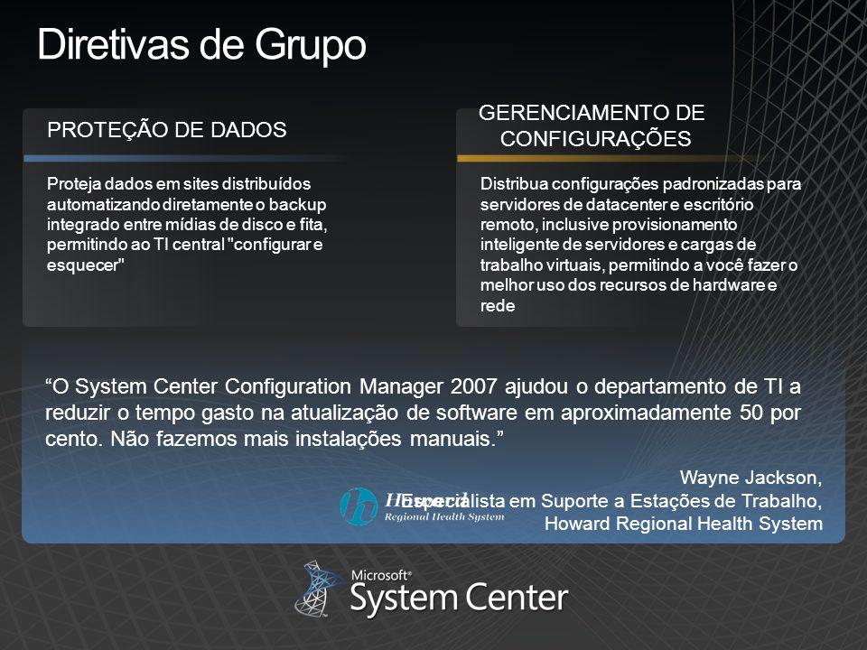 Diretivas de Grupo GERENCIAMENTO DE CONFIGURAÇÕES PROTEÇÃO DE DADOS