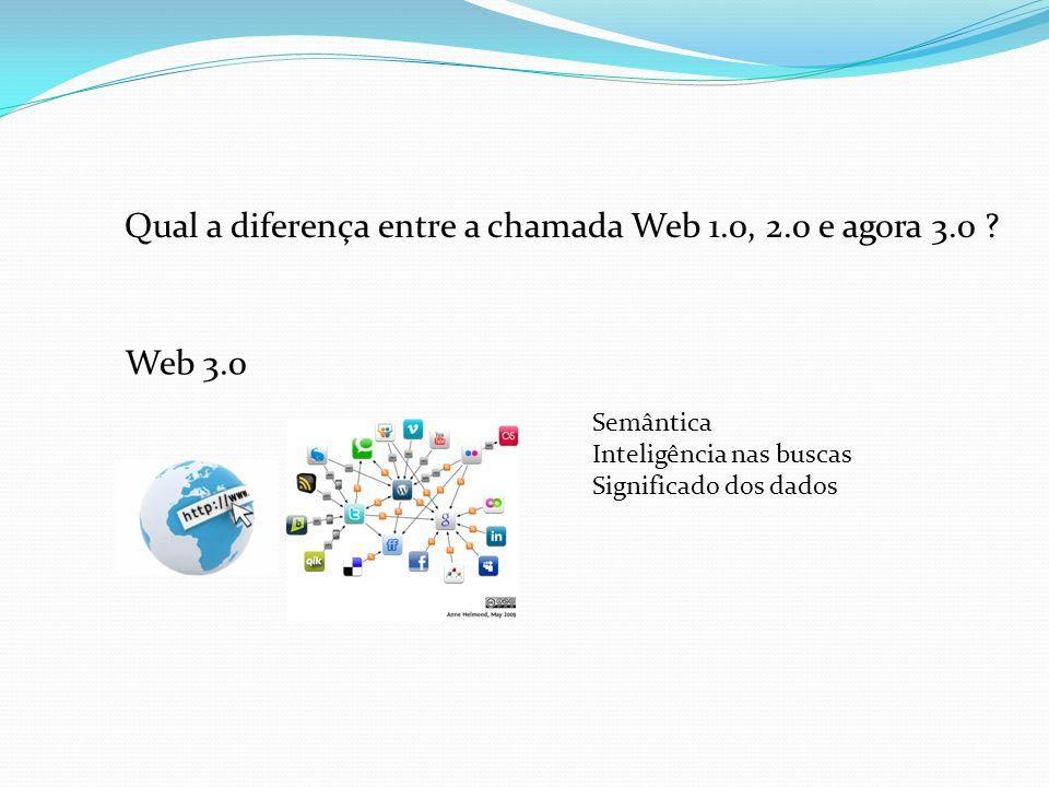 Qual a diferença entre a chamada Web 1.0, 2.0 e agora 3.0