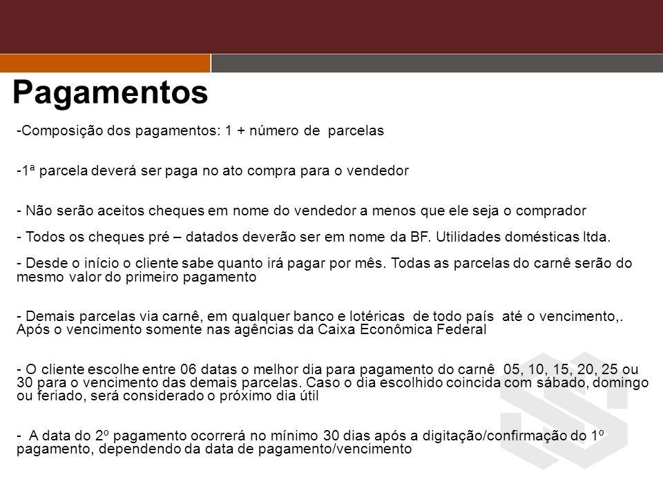 Pagamentos Composição dos pagamentos: 1 + número de parcelas