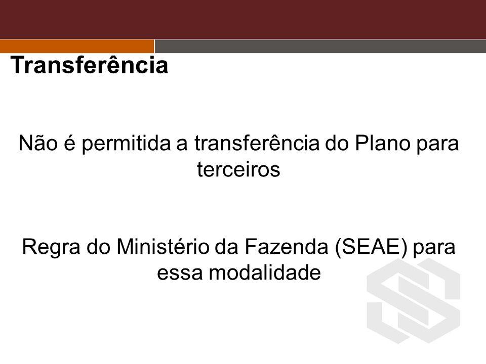 Transferência Não é permitida a transferência do Plano para terceiros