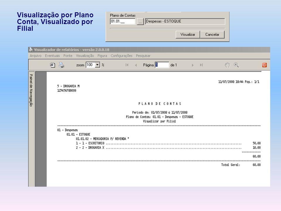 Visualização por Plano Conta, Visualizado por Filial