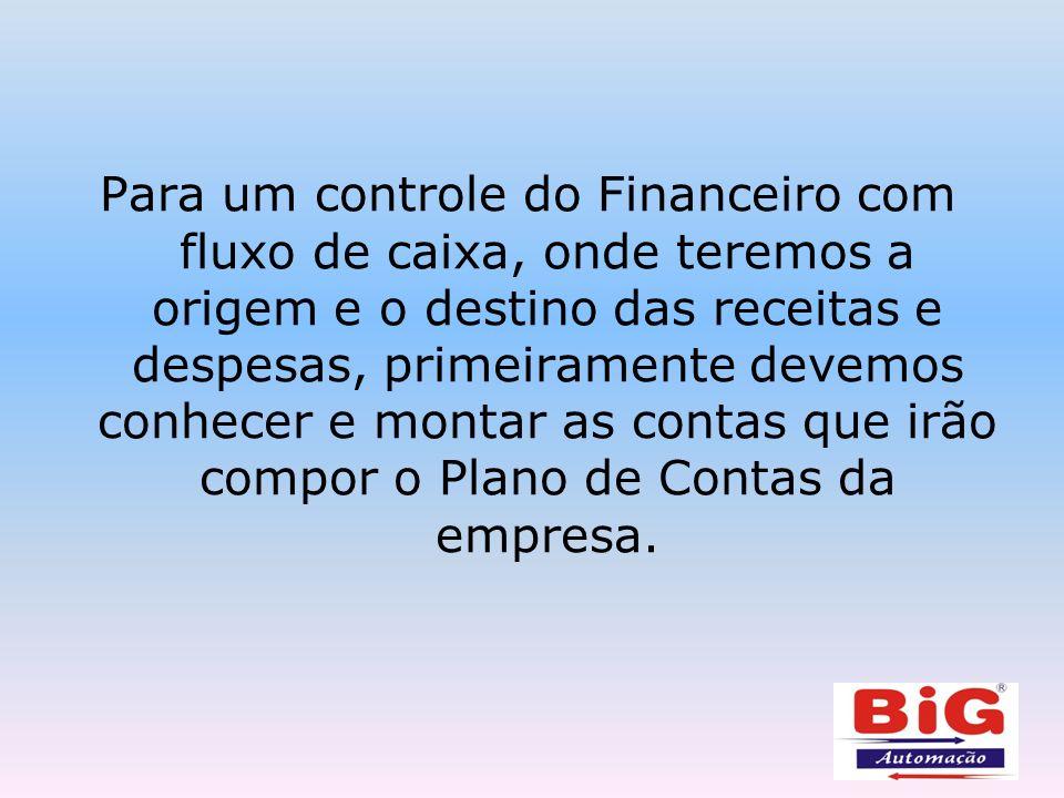 Para um controle do Financeiro com fluxo de caixa, onde teremos a origem e o destino das receitas e despesas, primeiramente devemos conhecer e montar as contas que irão compor o Plano de Contas da empresa.