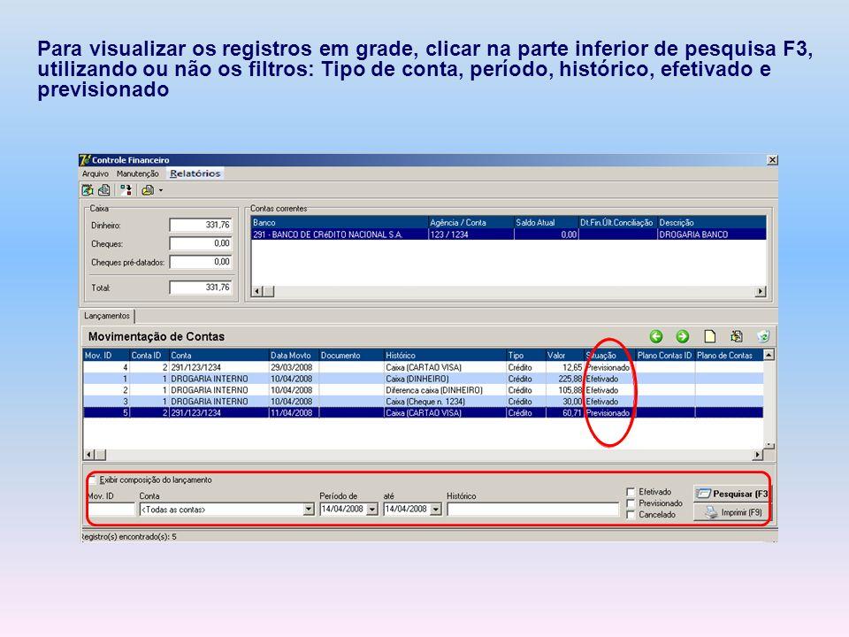 Para visualizar os registros em grade, clicar na parte inferior de pesquisa F3, utilizando ou não os filtros: Tipo de conta, período, histórico, efetivado e previsionado