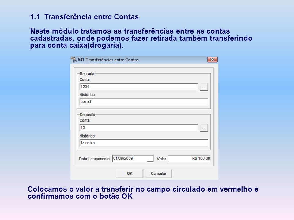 1.1 Transferência entre Contas