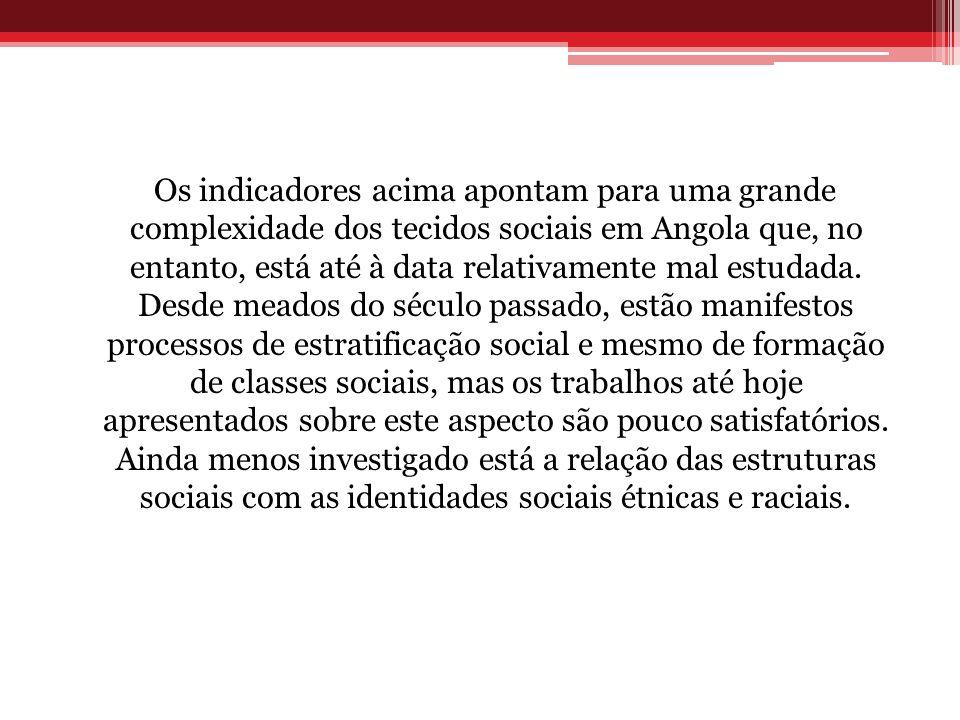 Os indicadores acima apontam para uma grande complexidade dos tecidos sociais em Angola que, no entanto, está até à data relativamente mal estudada.