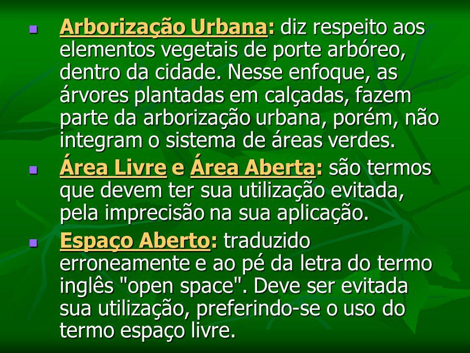 Arborização Urbana: diz respeito aos elementos vegetais de porte arbóreo, dentro da cidade. Nesse enfoque, as árvores plantadas em calçadas, fazem parte da arborização urbana, porém, não integram o sistema de áreas verdes.