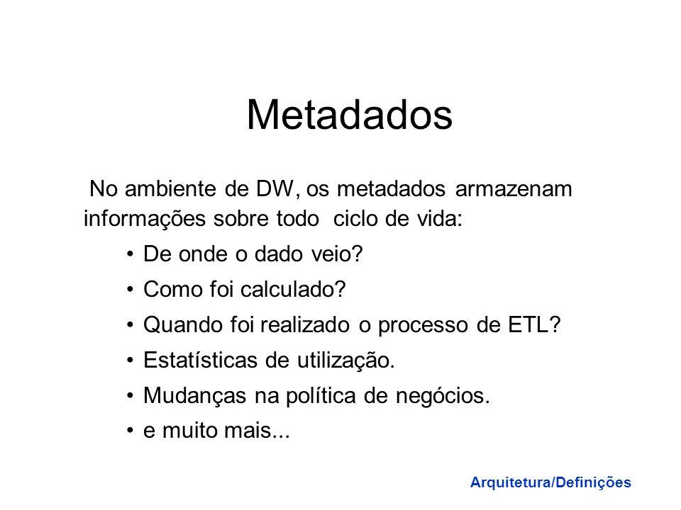 Metadados No ambiente de DW, os metadados armazenam informações sobre todo ciclo de vida: De onde o dado veio