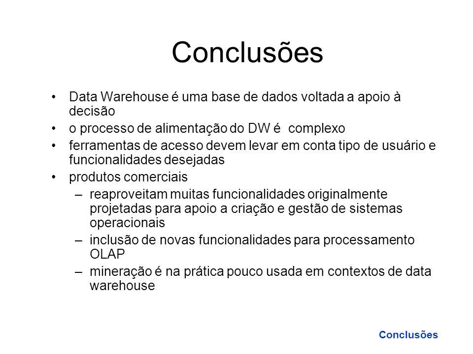Conclusões Data Warehouse é uma base de dados voltada a apoio à decisão. o processo de alimentação do DW é complexo.