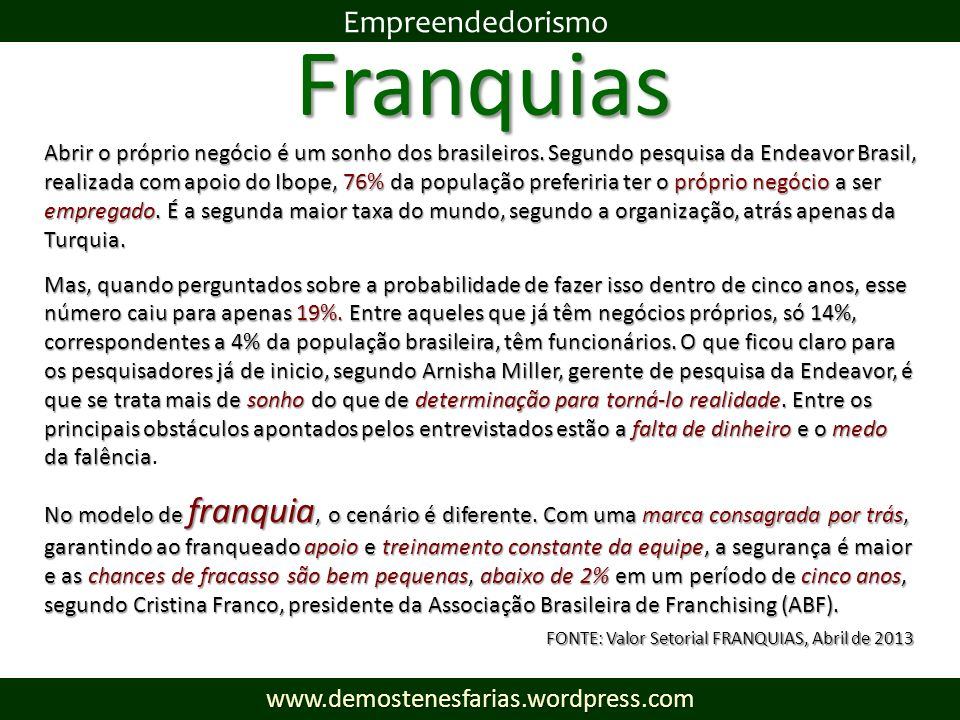 Franquias Empreendedorismo www.demostenesfarias.wordpress.com