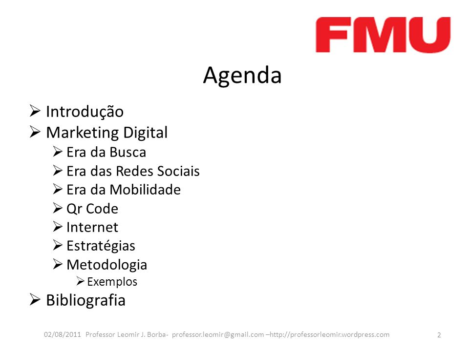 Agenda Introdução Marketing Digital Bibliografia Era da Busca