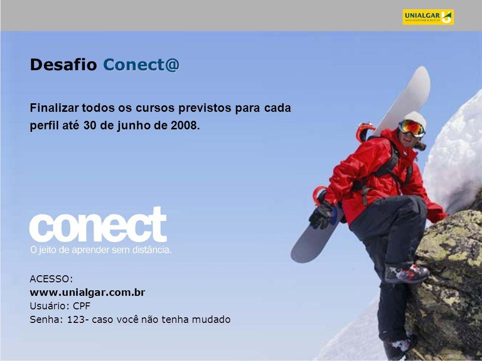 Desafio Conect@ Finalizar todos os cursos previstos para cada perfil até 30 de junho de 2008.