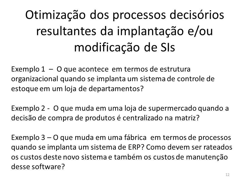Otimização dos processos decisórios resultantes da implantação e/ou modificação de SIs