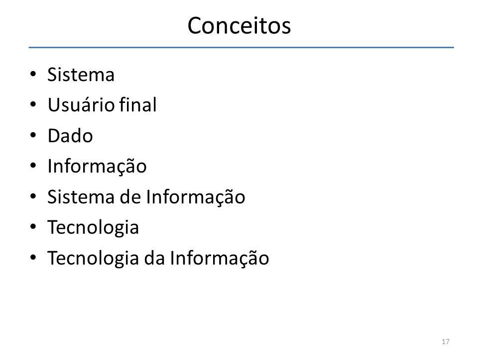 Conceitos Sistema Usuário final Dado Informação Sistema de Informação