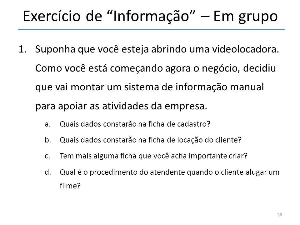 Exercício de Informação – Em grupo