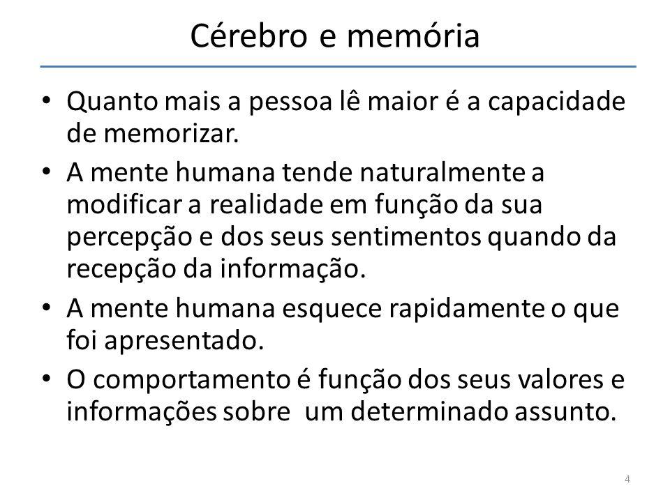 Cérebro e memória Quanto mais a pessoa lê maior é a capacidade de memorizar.