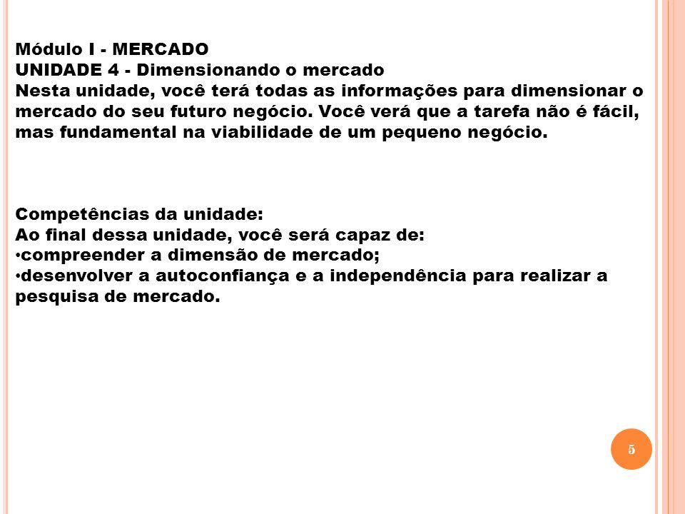 Módulo I - MERCADO UNIDADE 4 - Dimensionando o mercado.