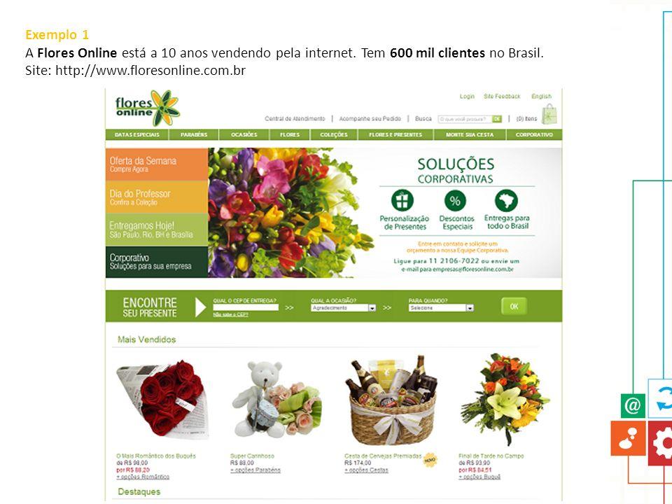 Exemplo 1 A Flores Online está a 10 anos vendendo pela internet.