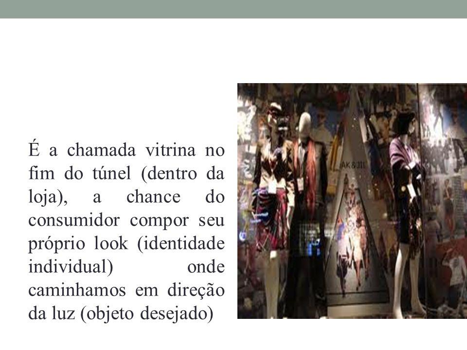 É a chamada vitrina no fim do túnel (dentro da loja), a chance do consumidor compor seu próprio look (identidade individual) onde caminhamos em direção da luz (objeto desejado)