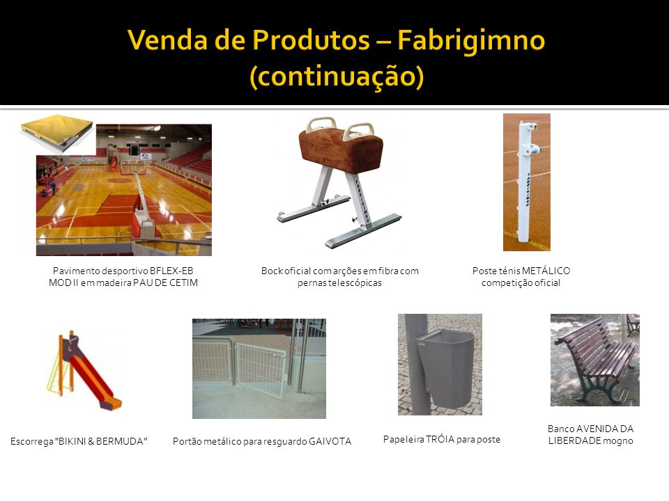 Venda de Produtos – Fabrigimno (continuação)