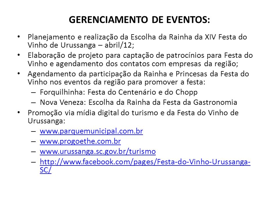 GERENCIAMENTO DE EVENTOS: