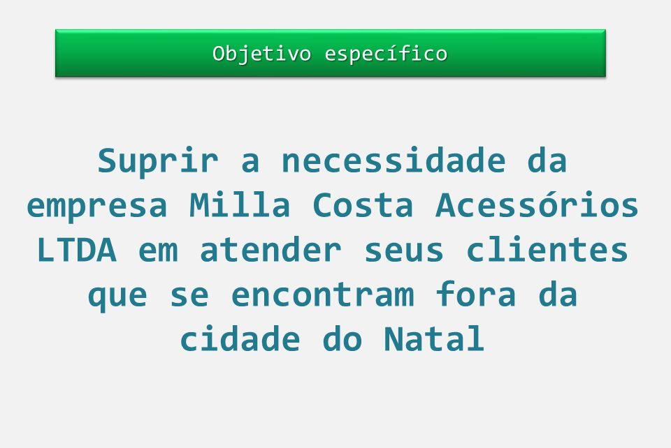 Objetivo específico Suprir a necessidade da empresa Milla Costa Acessórios LTDA em atender seus clientes que se encontram fora da cidade do Natal.