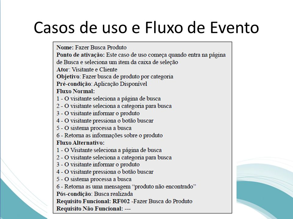 Casos de uso e Fluxo de Evento