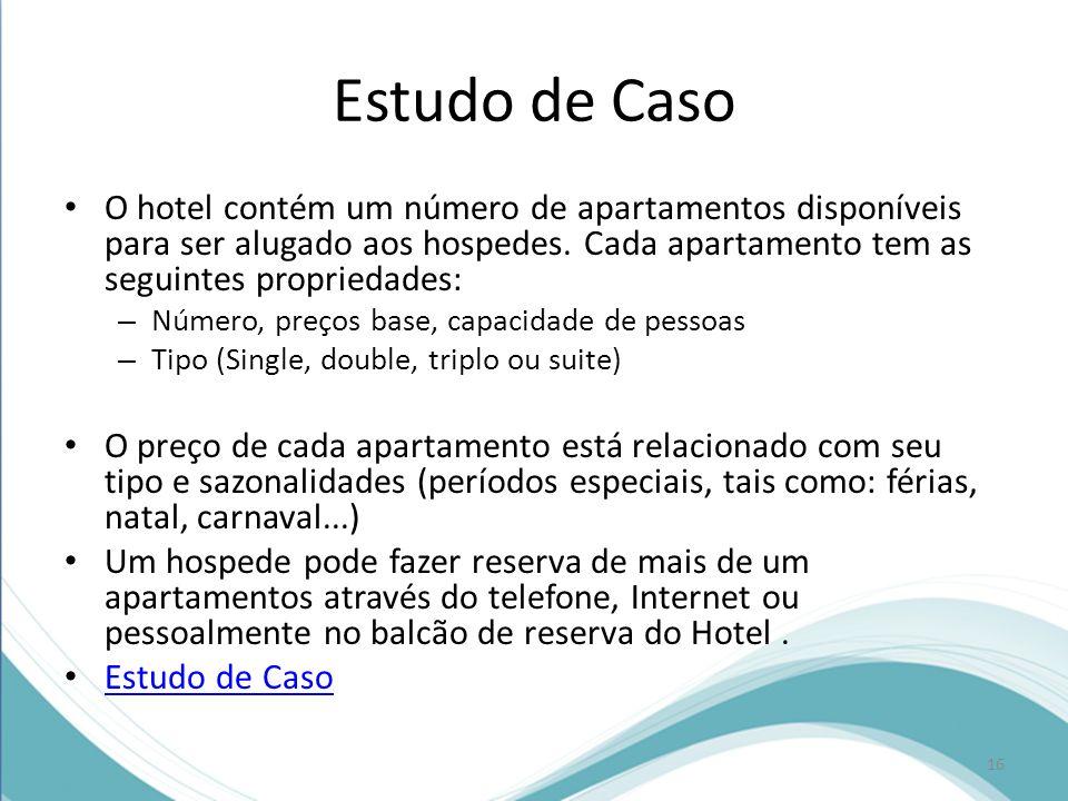 Estudo de Caso O hotel contém um número de apartamentos disponíveis para ser alugado aos hospedes. Cada apartamento tem as seguintes propriedades: