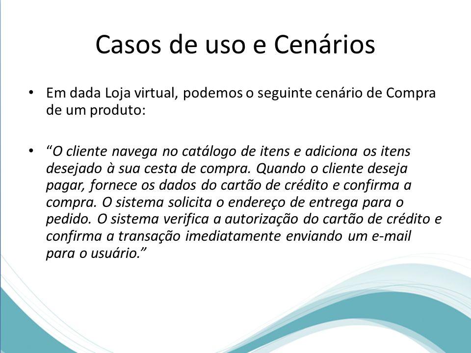 Casos de uso e Cenários Em dada Loja virtual, podemos o seguinte cenário de Compra de um produto: