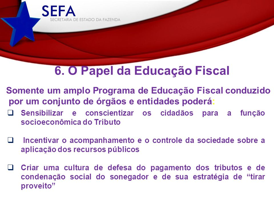 6. O Papel da Educação Fiscal