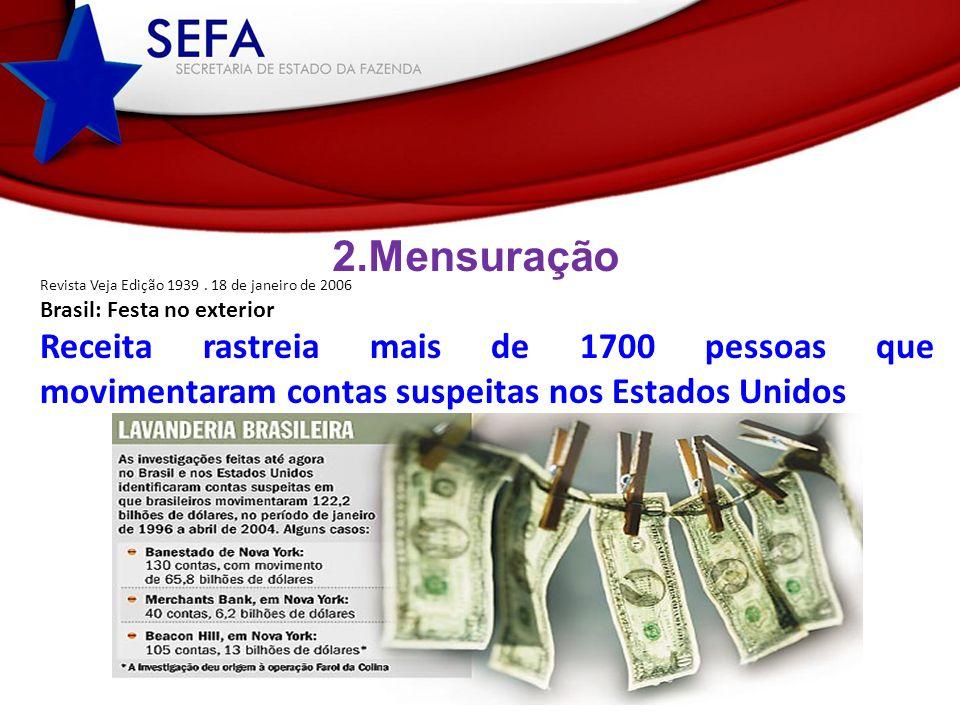 2. Mensuração Revista Veja Edição 1939 . 18 de janeiro de 2006. Brasil: Festa no exterior.