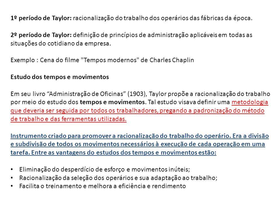 1º período de Taylor: racionalização do trabalho dos operários das fábricas da época.