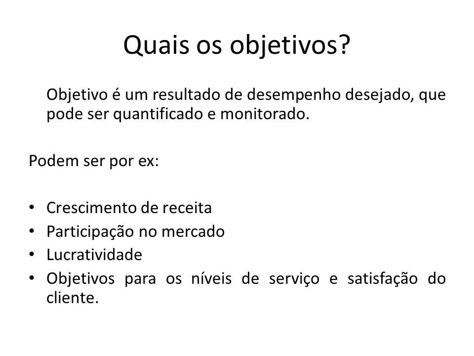 Quais os objetivos Objetivo é um resultado de desempenho desejado, que pode ser quantificado e monitorado.