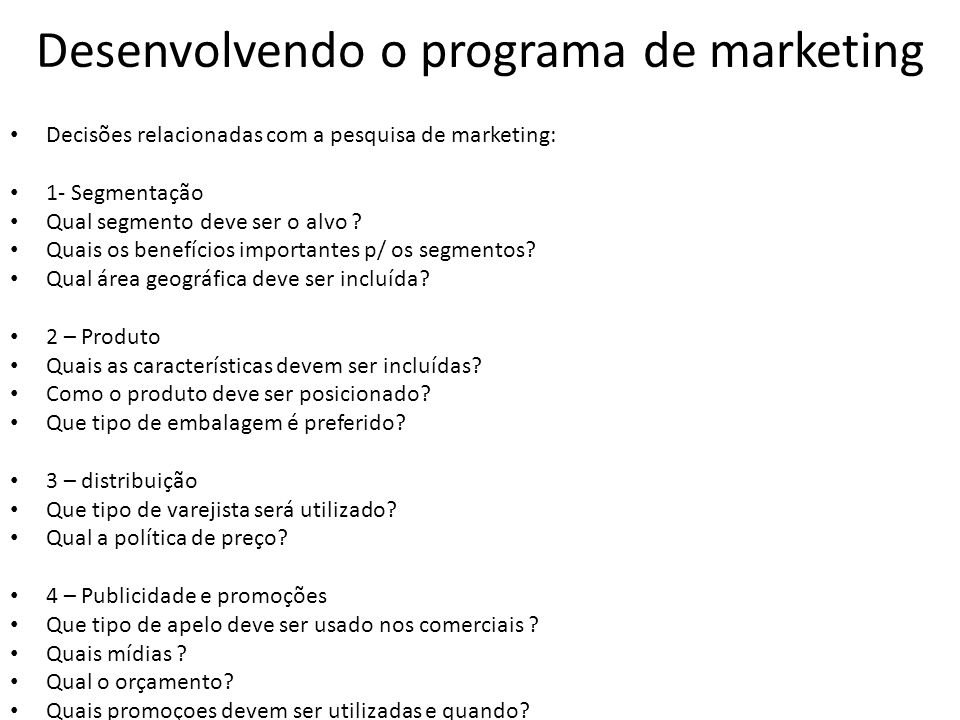 Desenvolvendo o programa de marketing