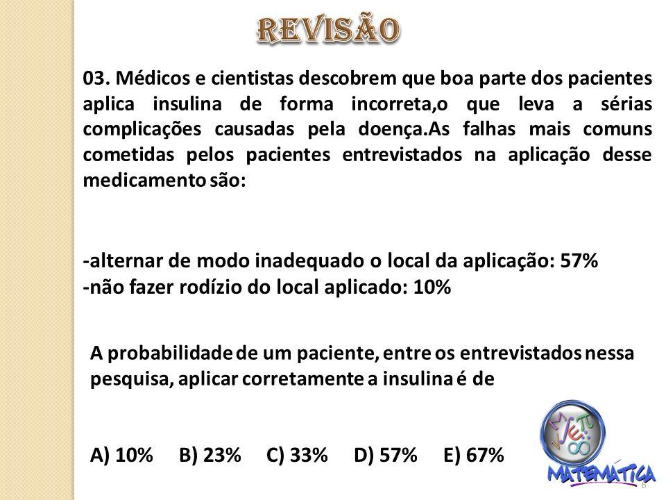 REVISÃO -alternar de modo inadequado o local da aplicação: 57%