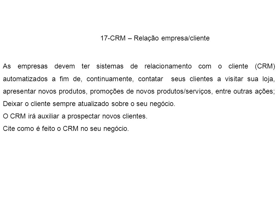 17-CRM – Relação empresa/cliente