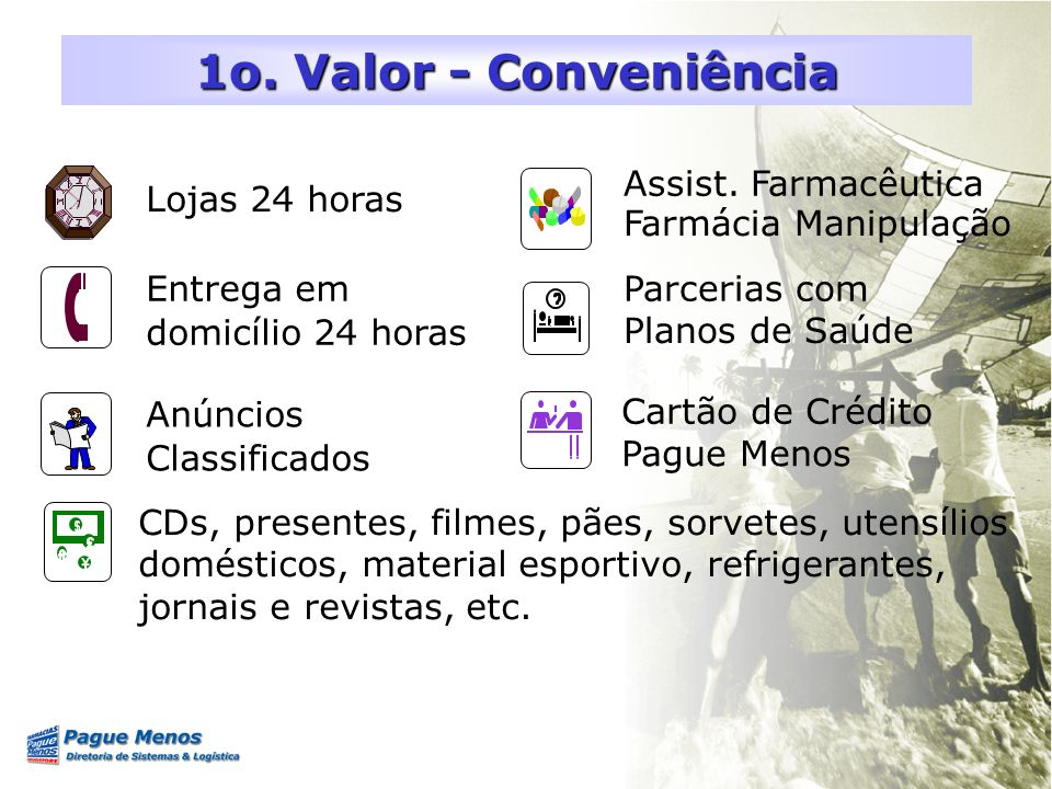1o. Valor - Conveniência Assist. Farmacêutica Lojas 24 horas