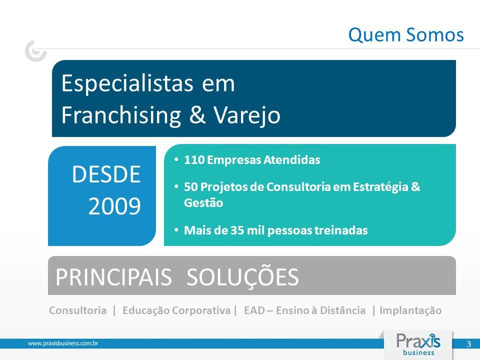 Especialistas em Franchising & Varejo DESDE 2009 PRINCIPAIS SOLUÇÕES