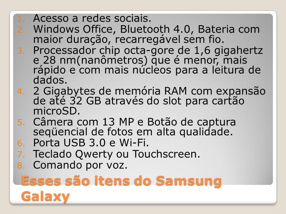 Esses são itens do Samsung Galaxy