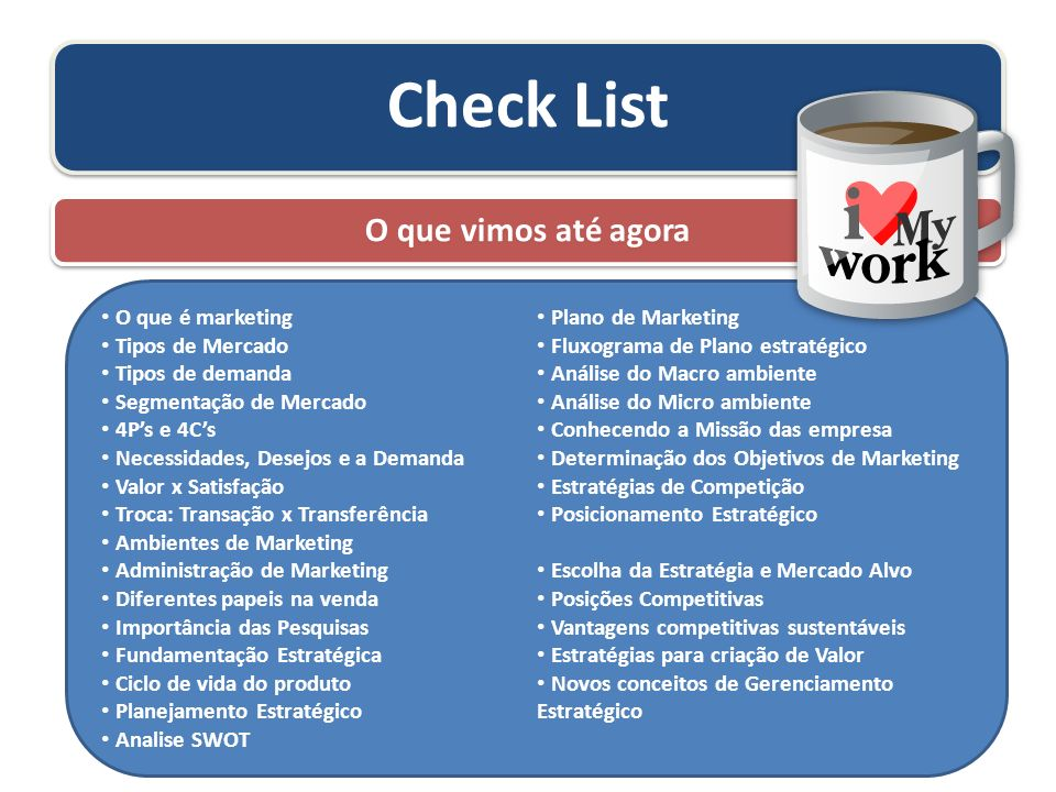 Check List O que vimos até agora O que é marketing Plano de Marketing