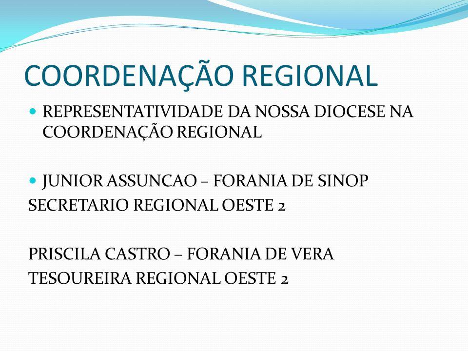 COORDENAÇÃO REGIONAL REPRESENTATIVIDADE DA NOSSA DIOCESE NA COORDENAÇÃO REGIONAL. JUNIOR ASSUNCAO – FORANIA DE SINOP.